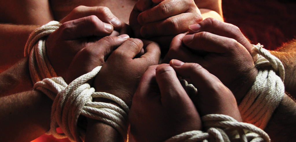 Bondage group with tied hands